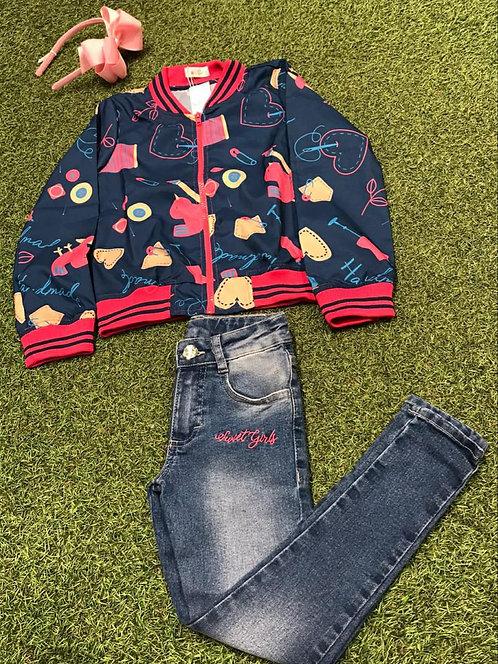 008 - Conjunto de Arco, Jaqueta e Calça jeans