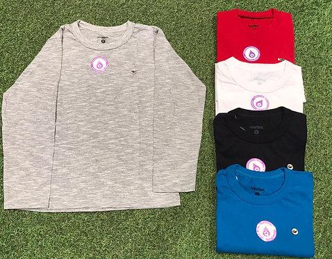 003 - Blusa básica de algodão gola redonda