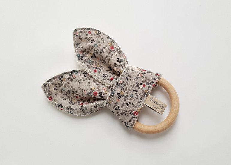 Bunny Ear Baby Teether, Grey Mini Floral Print