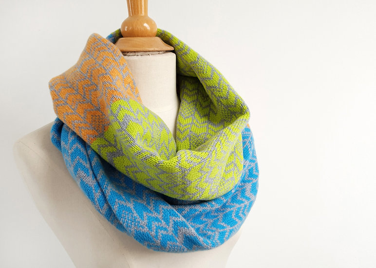 Lambswool Knitted Infinity Scarf in Contemporary Chevron Design