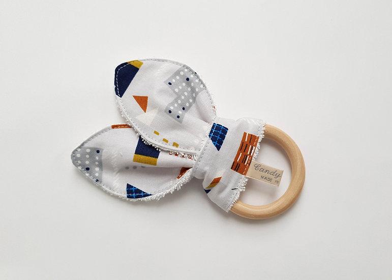 Bunny Ear Baby Teether, Abstract House Print