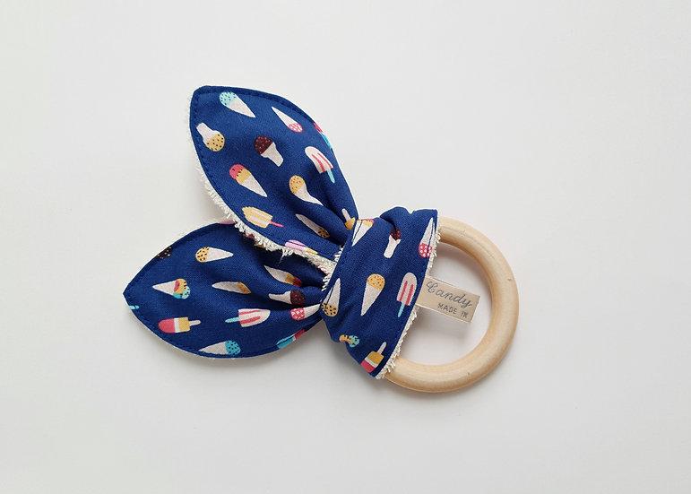 Bunny Ear Baby Teether, Ice Cream Print