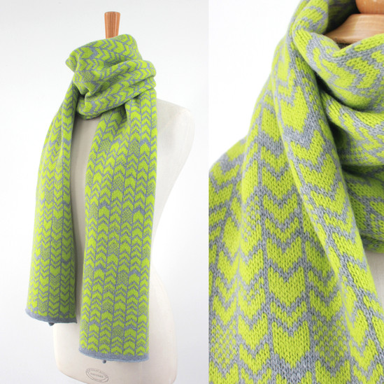 Lime and Grey Chevron Scarf