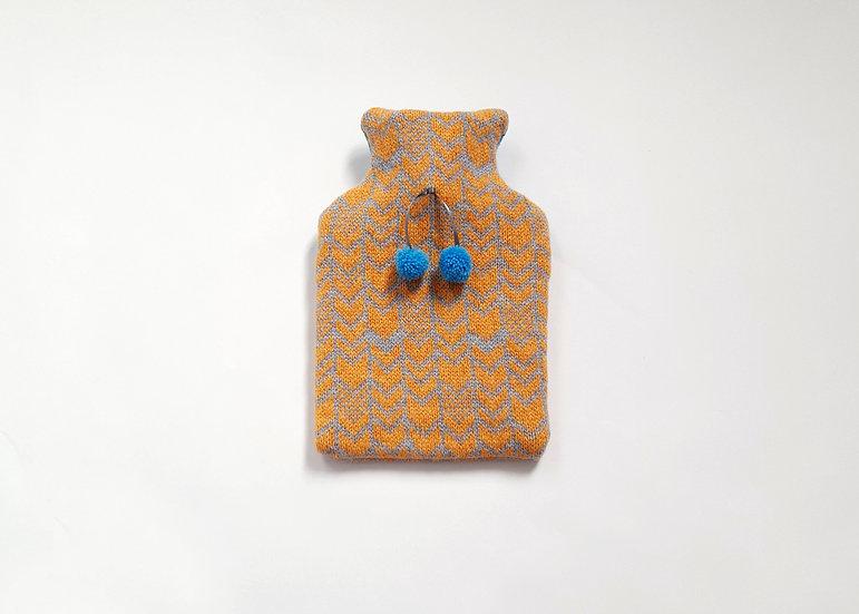 Honey Bee & Grey Mini Lambswool Hot Water Bottle Cover