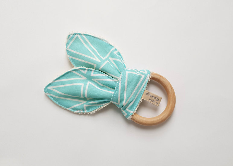Bunny Ear Baby Teether, Aqua Triangle Print