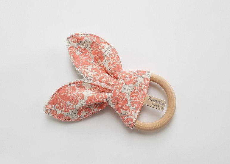 Bunny Ear Baby Teether, Pink Damask Print