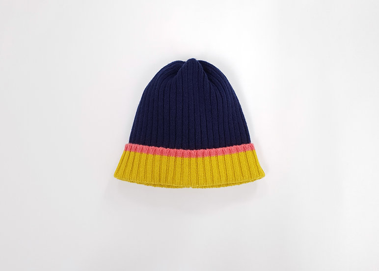 Navy Lambswool Knitted Beanie Hat