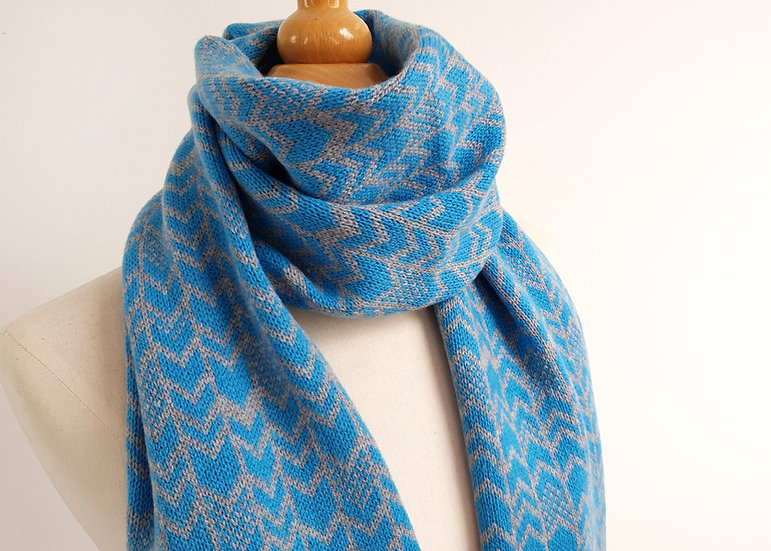 Lambswool Knitted Scarf in Contemporary Chevron Design