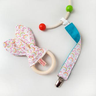 Rainbow Teether and Dummy Clip set