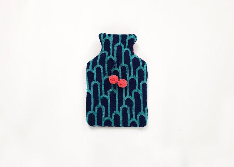Shamrock & Navy Mini Lambswool Hot Water Bottle Cover