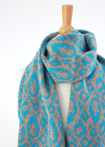 Blue and Taupe Animal Print Scarf