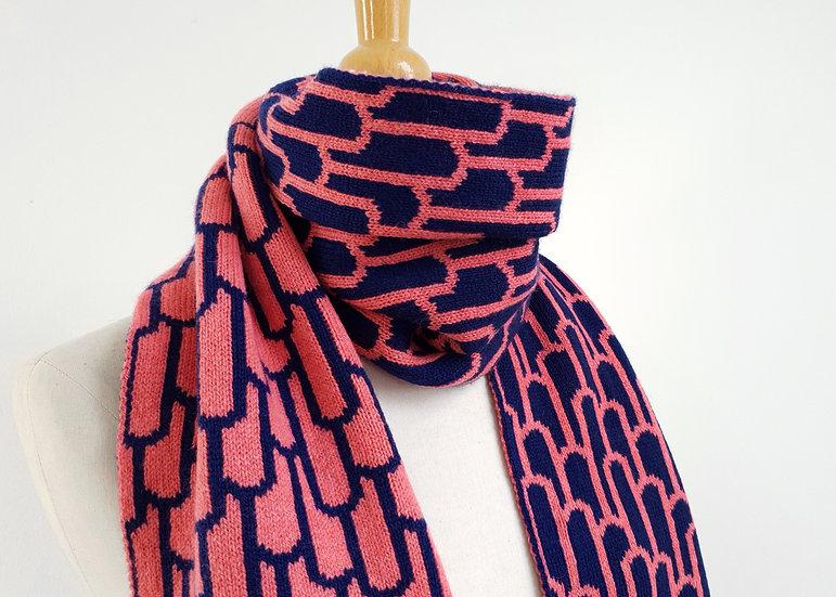 Rose Petal & Navy Reversible Lambswool Knitted Scarf