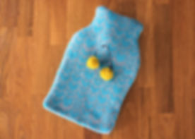 Blue, grey, yellow mini hot water bottle cover