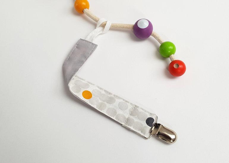 Dummy/Toy Clip,  Grey Spot Print