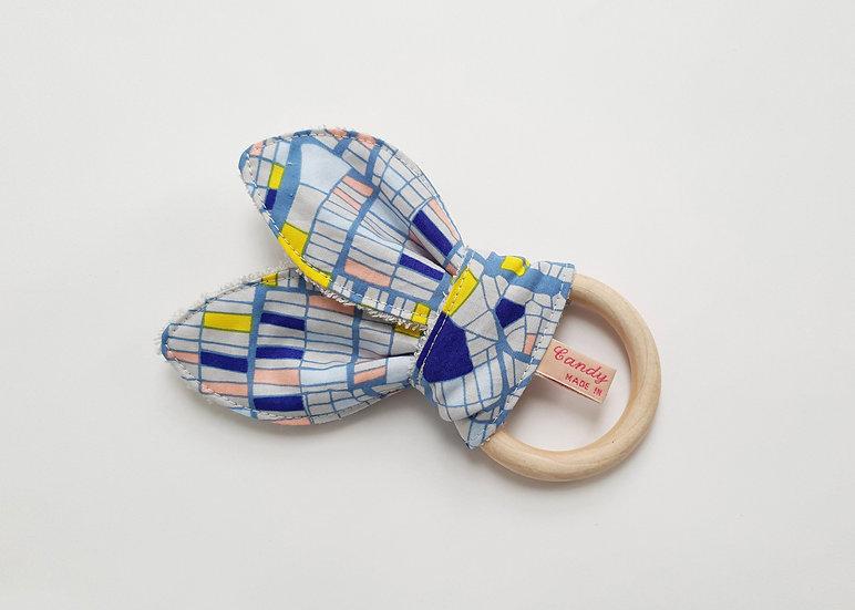 Bunny Ear Baby Teether, Blue Geometric Print