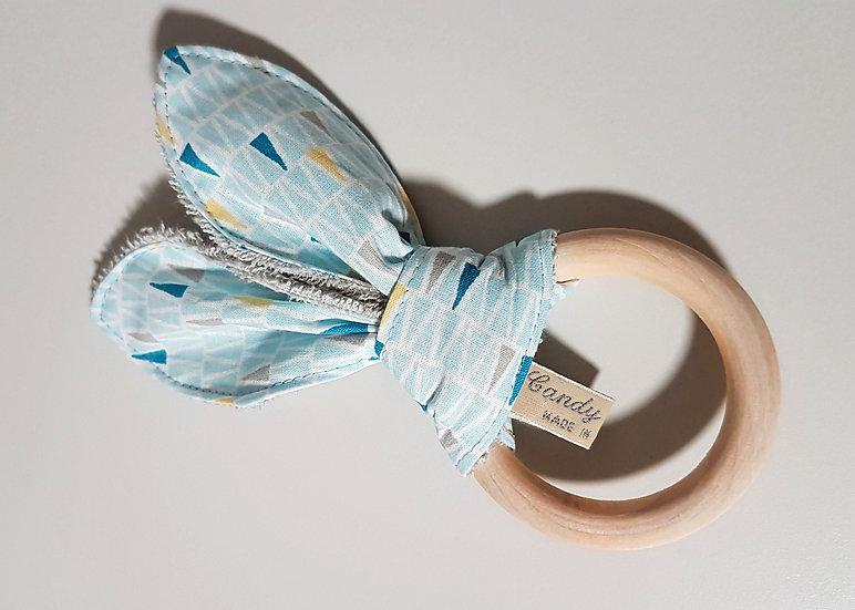 Bunny Ear Baby Teether, Blue Mini Triangle Print