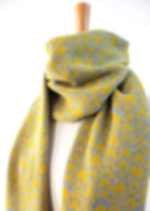 Yellow & Grey Chevron Scarf