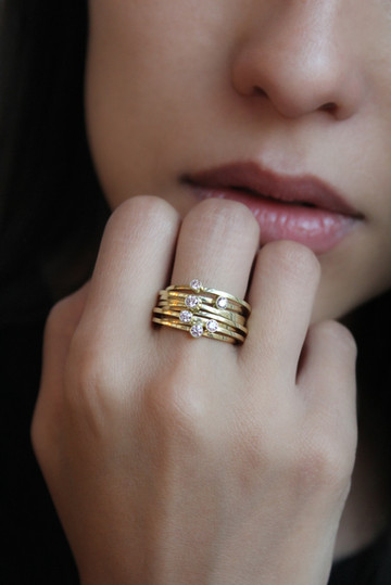 Ringenset met roze diamant _ Atelier LUZ