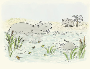 "Illustration sample for ""Hippos Has Always Loved the Water"""