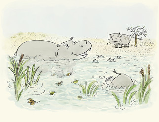 """Illustration sample for """"Hippos Has Always Loved the Water"""""""