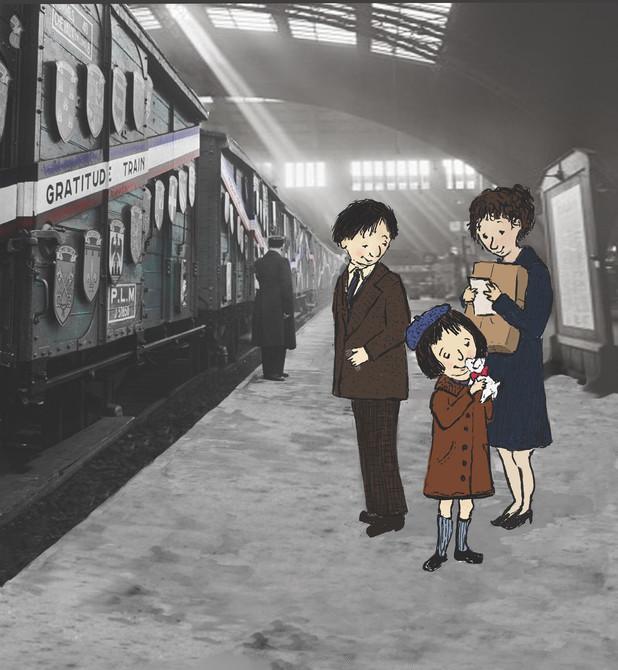 """Illustration sample for """"The Gratitude Train"""""""