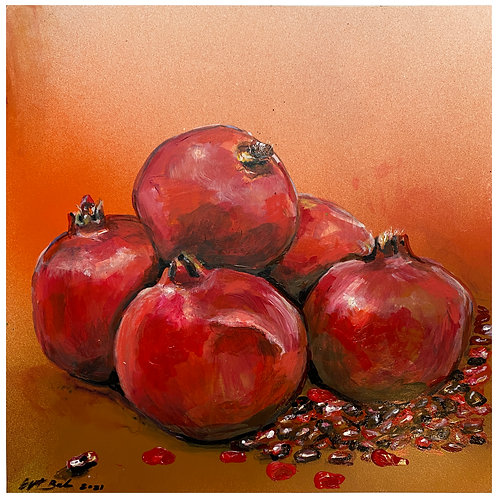 Painting on Yupo paper (unframed): POMEGRANATES AND SEEDS