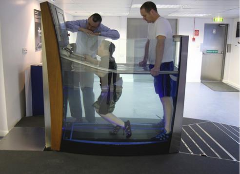 Joel using aquatic lifestyle treadmill .