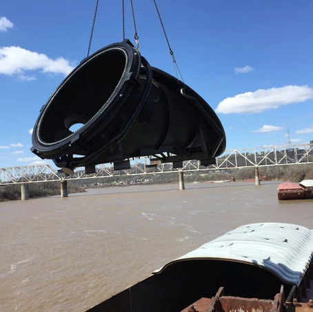 Offload Barges by Crane