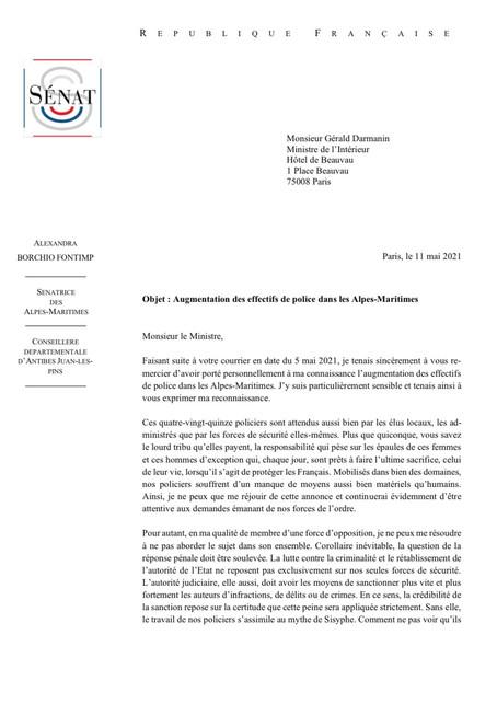 #15 Courrier - Augmentation des effectifs de police dans les Alpes-Maritimes