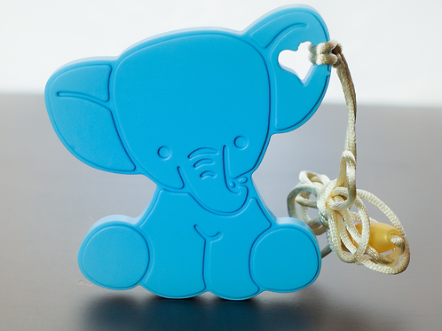 Silicone Baby Elephant Teether - Cool Ocean Blue