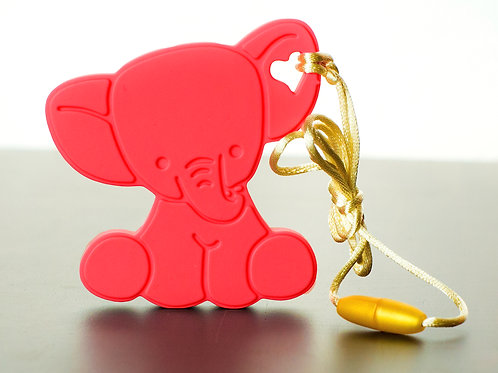 Silicone Baby Elephant Teether - Apple Red