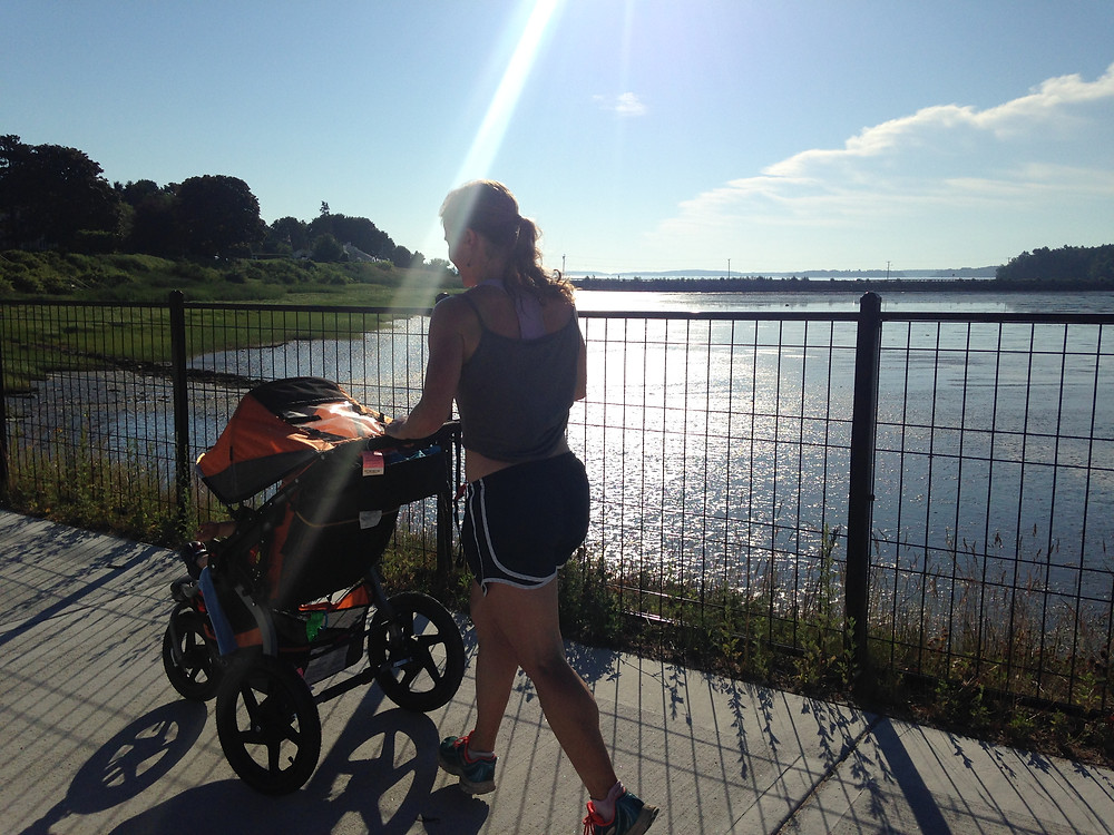 Kara on a morning stroller run near our house...not a bad view!