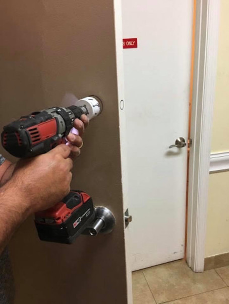 Making additional holes in the door for an extra lock is called a fresh installation.