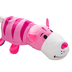 pink cat plush toy on isolated backgroun