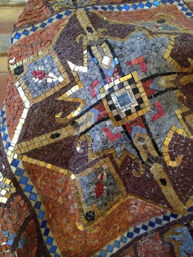 "Tiziana Mondini, ""Narnia"", marble, enamel, silver and gold tiles, lead, 100 X 100 X 120 cm."