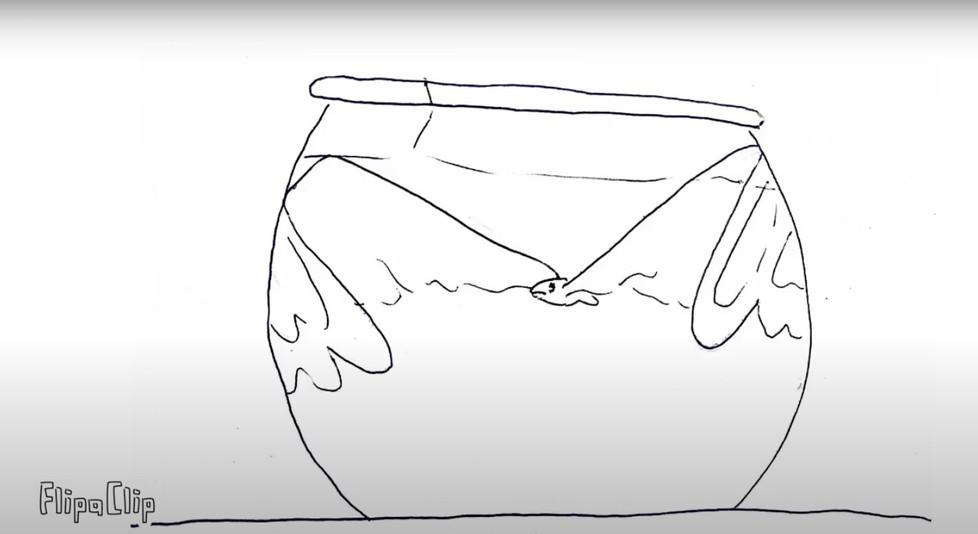 "Sofia Jade Meljem Pellegrino, ""Gold Fish"", animated short film, 10 seconds."