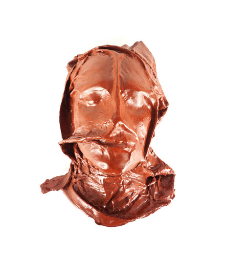 "Niko Kapa, ""Conduttore"", plaster, fabric, diluted clay, rabbit skin glue, wax, 24k gold, 36 x 29 x 17 cm"