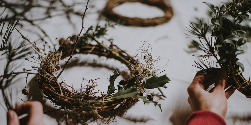 Adventskranz binden an der Mosel