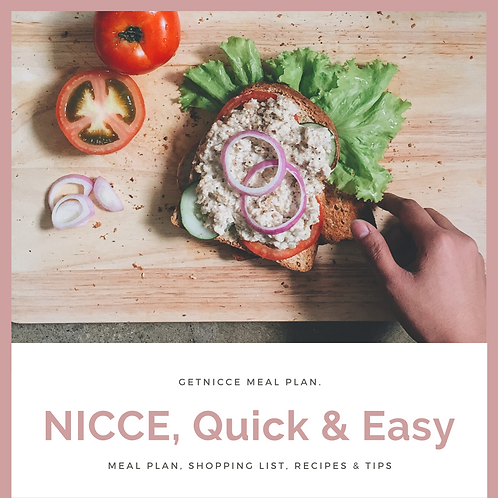 NICCE, Quick & Easy Meal Plan