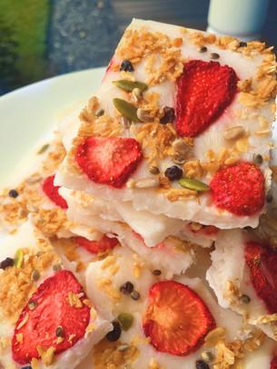 Berry Crunch Yogurt Bark with Mint