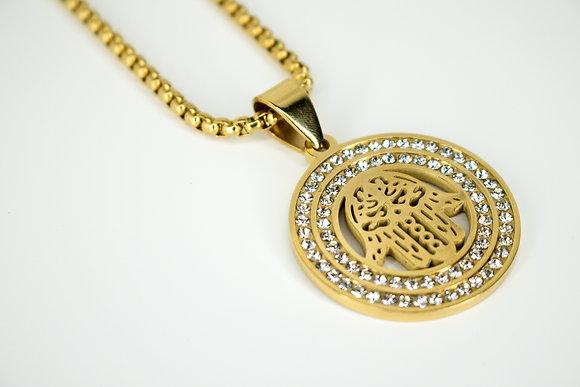 CRYSTAL CIRCULAR HAMSA GOLD