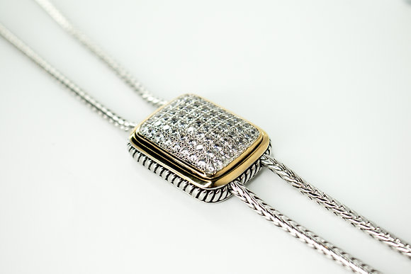 LONG CRYSTAL PAVE GOLD/SILVER