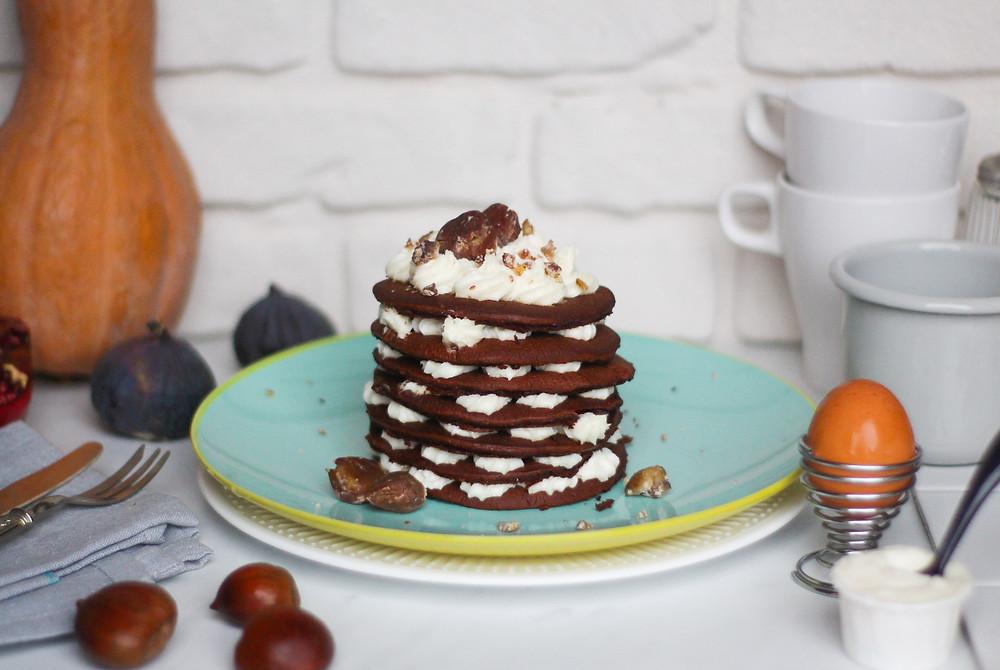 Montblanc pancake ricetta pancakes cioccolato castagne