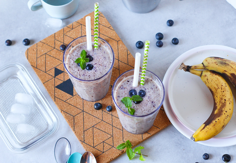 smoothie banana e mirtilli ricetta facile brunch buonbrunch
