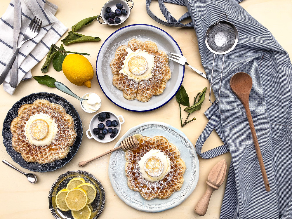 waffle limone miele panna acide ricetta brunch