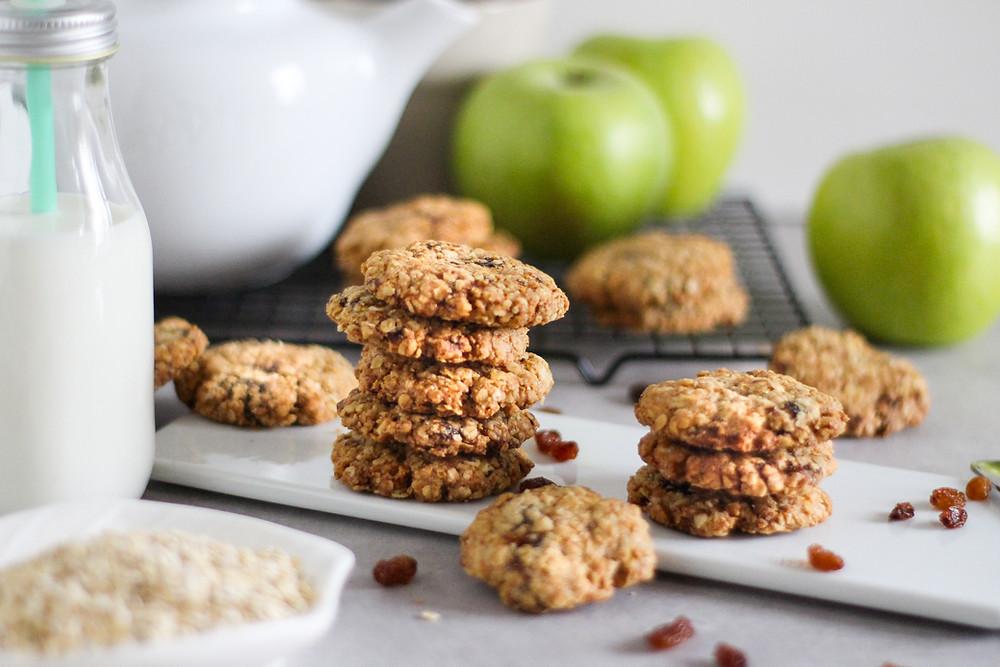 cookies di avena mele e uvetta ricetta facile
