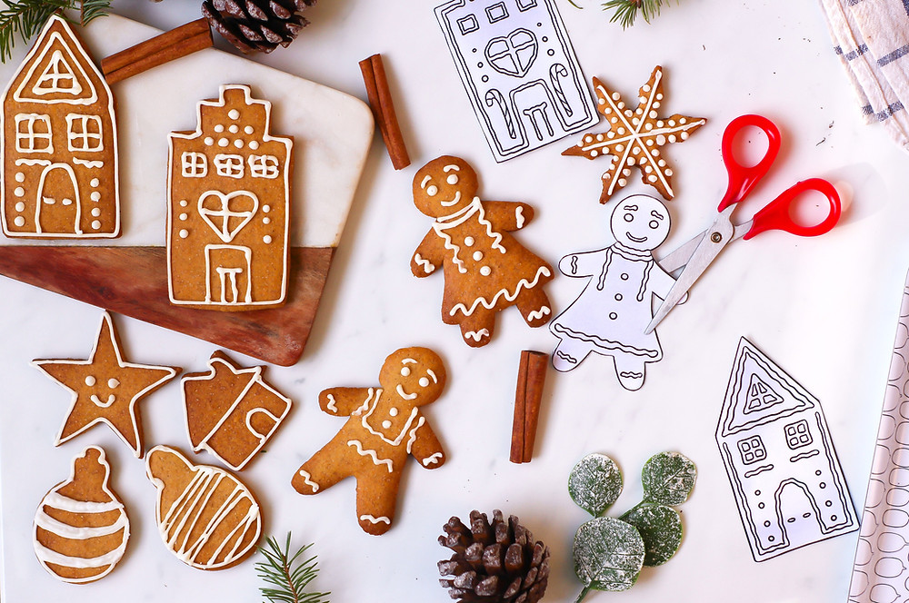 gingerbread cookies paper dolls formine biscotti natale cartamodello