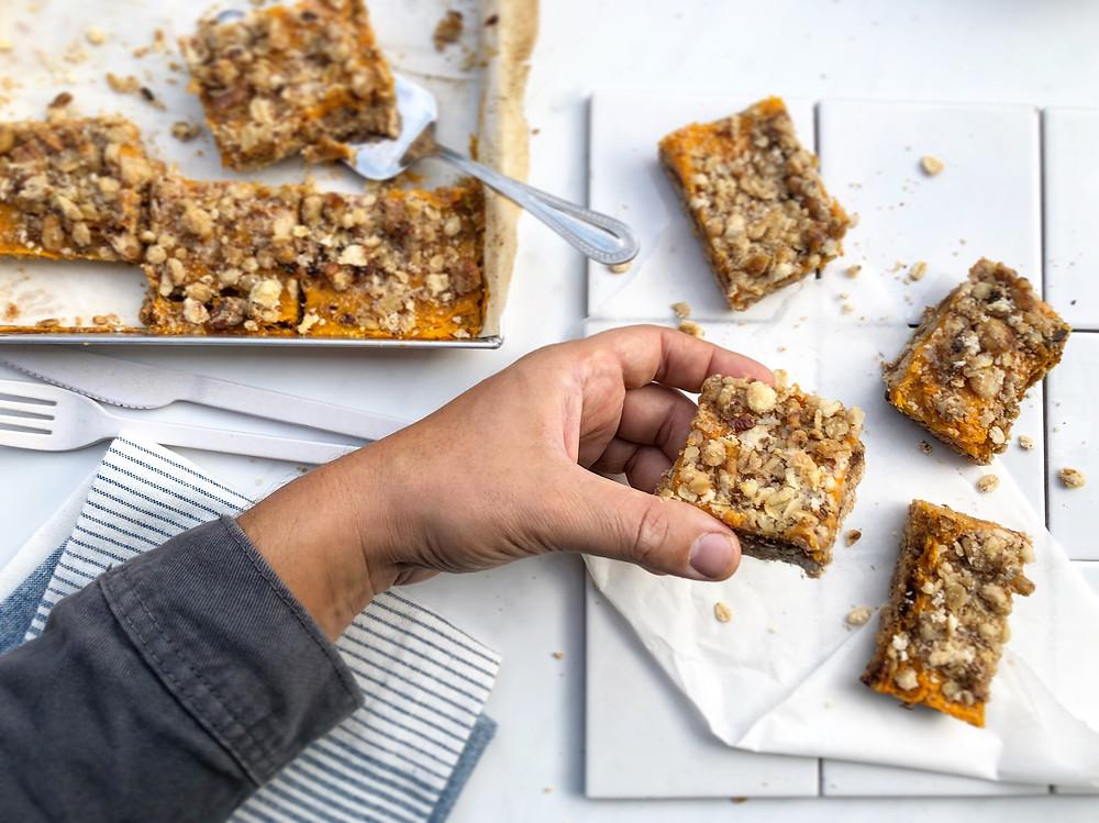 crumble zucca pumpkin barrette ricetta brunch