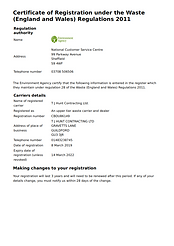 TJ Hunt Waste Carrier Licence 2019-2022_