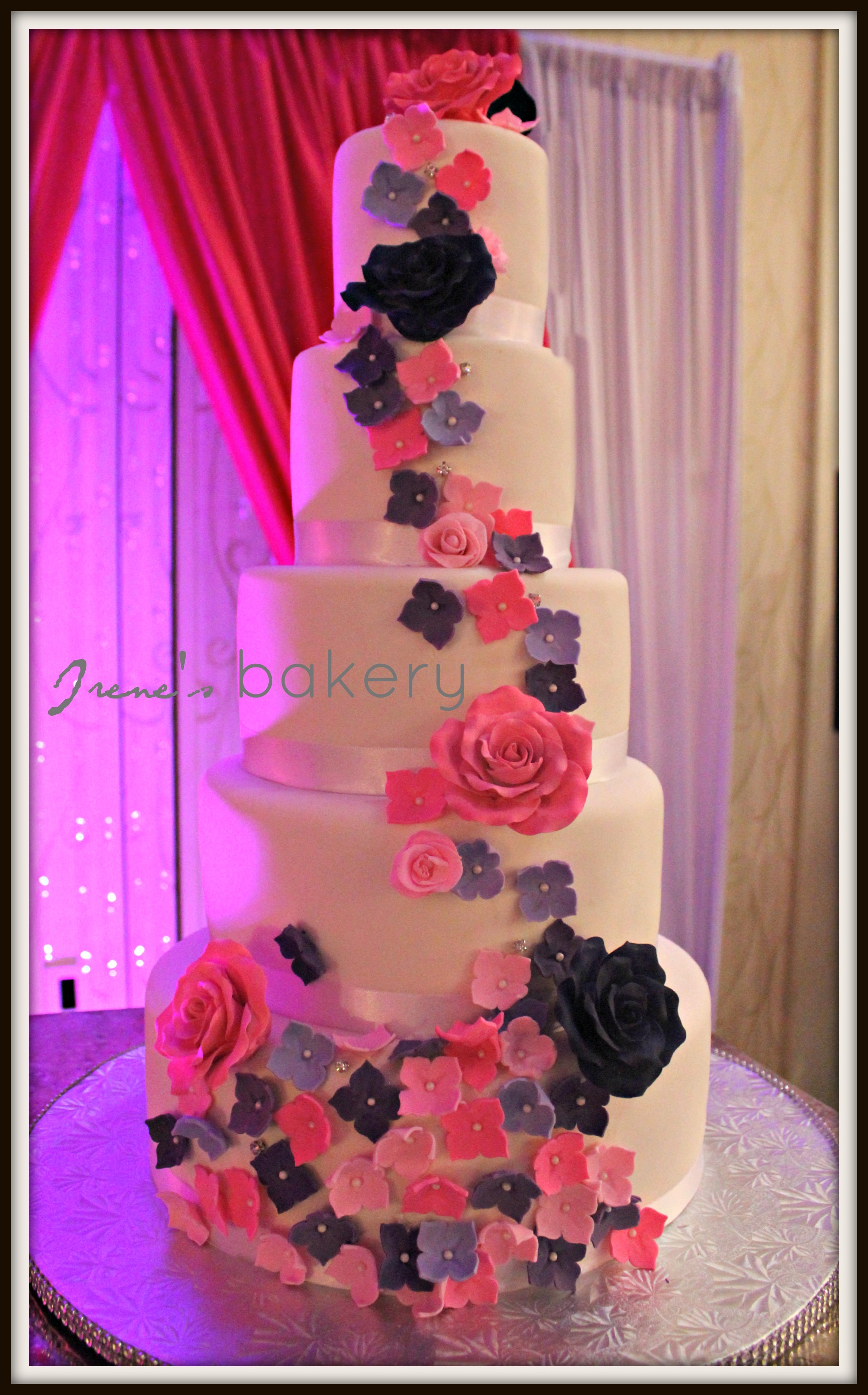 pink purple and blue wedding cake irene s bakery pink and purple flowers wedding cake 18582